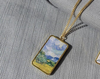 Hand Painted Jewelry  Canvas Jewelry  Bird Necklace  Gift for Artist  Painting Pendant  Pin Drop Jewelry  Abstract Art Jewelry
