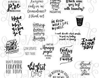 Hand lettered quotes digital stickers