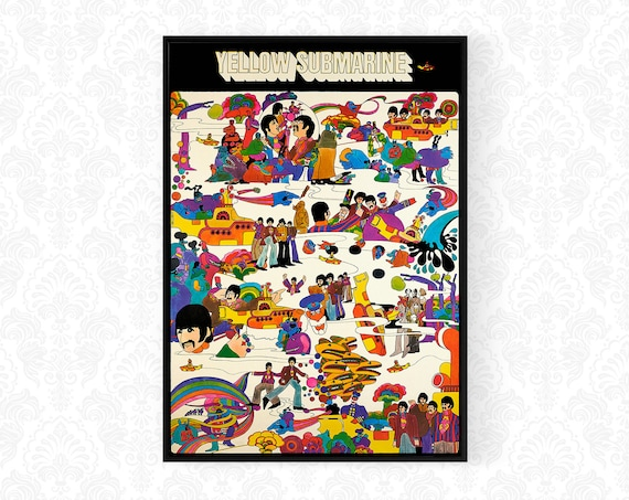 Yellow Submarine Beatles Poster Print In A3 A4