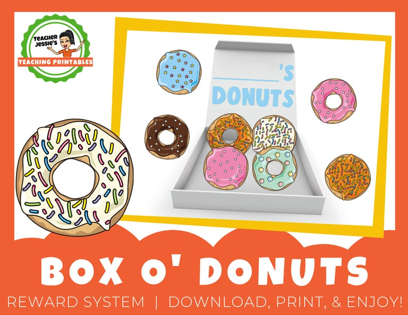 image about Vipkid Reward System Printable known as Box of Donuts Printable Advantage Incentive Approach for ESL On the internet Schooling  VIPKid, GogoKid, Magic Ears ** Electronic Down load