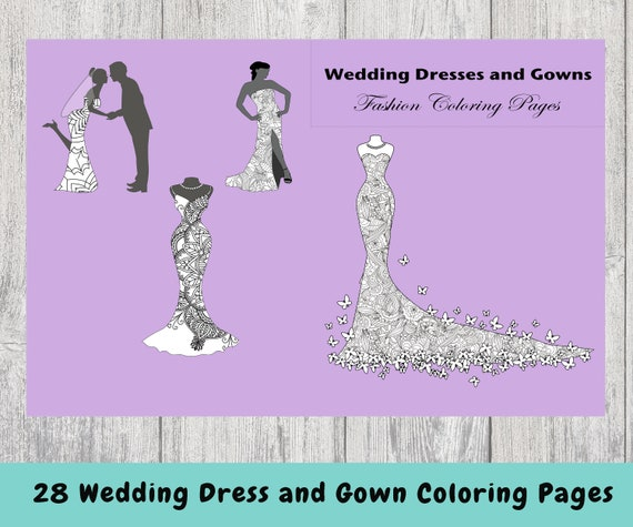 Wedding Dresses And Gowns Coloring Pages Instant Download Etsy
