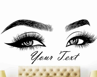 c65ff8c98e9 Eyelashes Wall Decal, Lashes, Brows, Beautiful Girl, Beauty Salon, Custom  text, Eyebrows, Decal Sticker, Eye Quote, Make Up, Custom Sticker