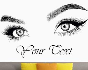 5b332490cf8 Eyelashes Wall Decal, Lashes Wall Decor, Brows, Beauty Salon, Custom text,  Eyebrows, Decal Sticker, Eye Quote, Make Up, Custom Wall Sticker