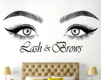 e0b294e8d47 Eyelashes wall decal, Lashes, Brows, Beauty Salon, Eyebrows, Decal Sticker,  Eye Quote, Make Up, Decor Wall