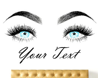 fb592a4f21c Eyelashes Wall Decal, Lashes, Brows, Colour, Beautiful Girl, Beauty Salon,  Custom text, Eyebrows, Decal Sticker, Make Up, Custom Sticker