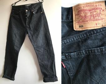 218ce193 Vintage Black Levis 501 - Denim Pants 80s 90s Levi Strauss Red Tab Denim -  Classic Black 501 Jeans - Button Fly - Straight Leg - Light Fade