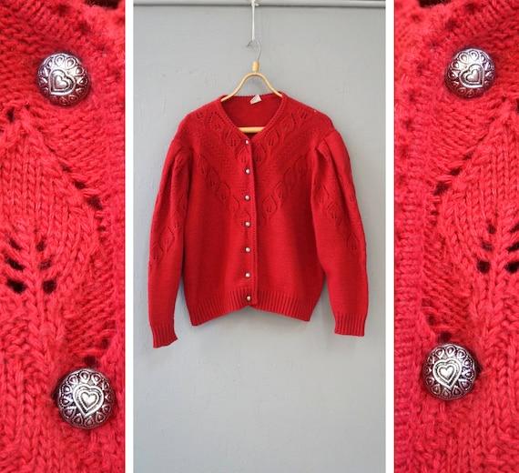 Vintage 90s Dirndl Cardigan Womens Wool Cardigan R