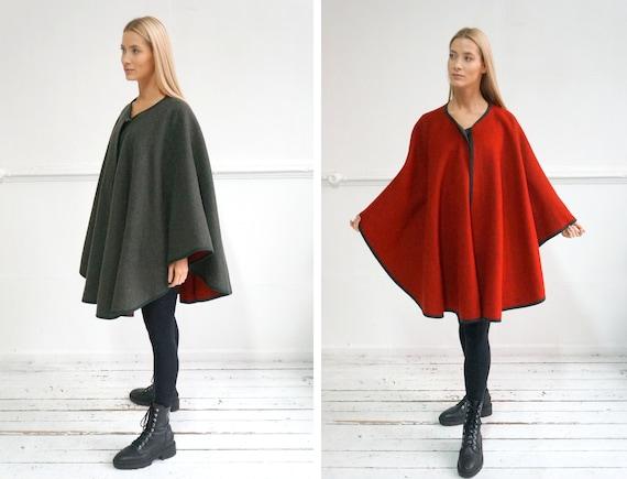 Vintage Cape Coat Women Wool Poncho Coat Green Woo