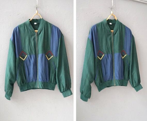 Vintage 90s Silk Bomber Jacket Mens Bomber Jacket