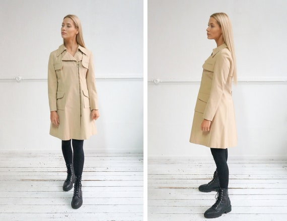 Vintage 90s Beige Trench Coat Womens Beige Coat M