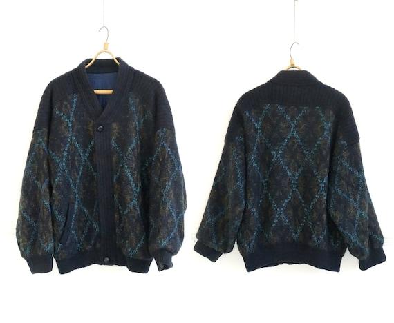 Vintage 90s Wool Jacket Mens Blue Mohair Jacket L
