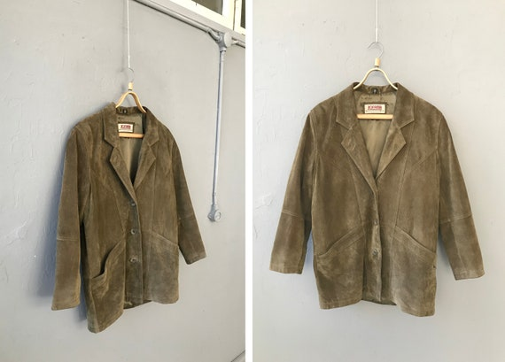 Vintage 90s Leather Jacket Womens M Khaki Green Su