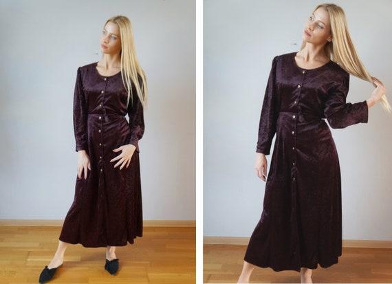 Vintage Velvet Dress Womens Maxi Dress L Burgundy