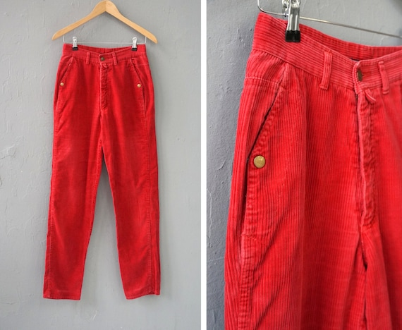 Vintage Corduroy Pants Red Corduroy Trousers W27 R