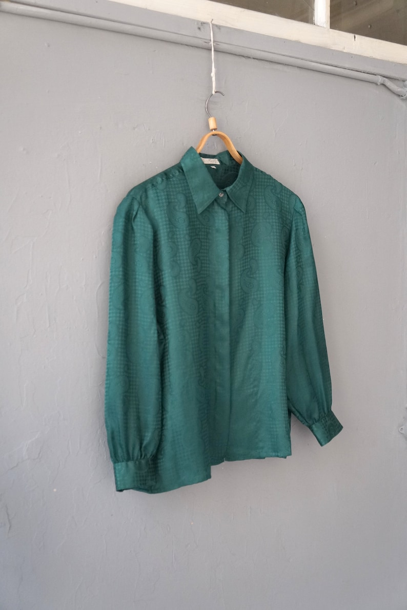 Vintage 90s Paisley Blouse Green Womens Blouse L XL Green Houndstooth Top Green Blouse Light Womens Top Paisley Print Blouse L XL