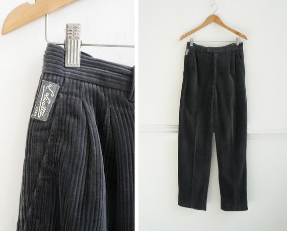 Vintage 90s Corduroy Pants Gray Corduroy Trousers