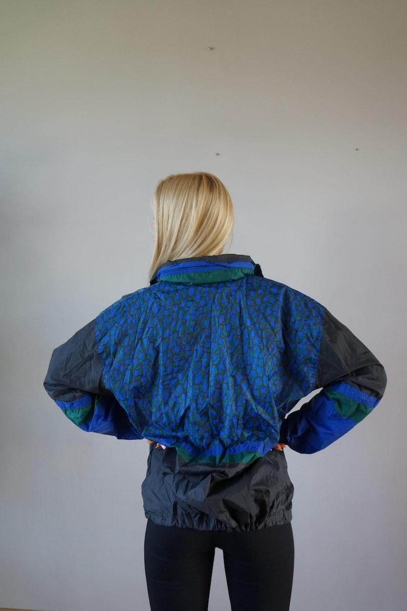 Vintage 90s Windbreaker Mens S Vintage Jacket Womens Large Sports Jacket Abstract Print Windbreaker Blue Green Jacket Mens Windbreaker S