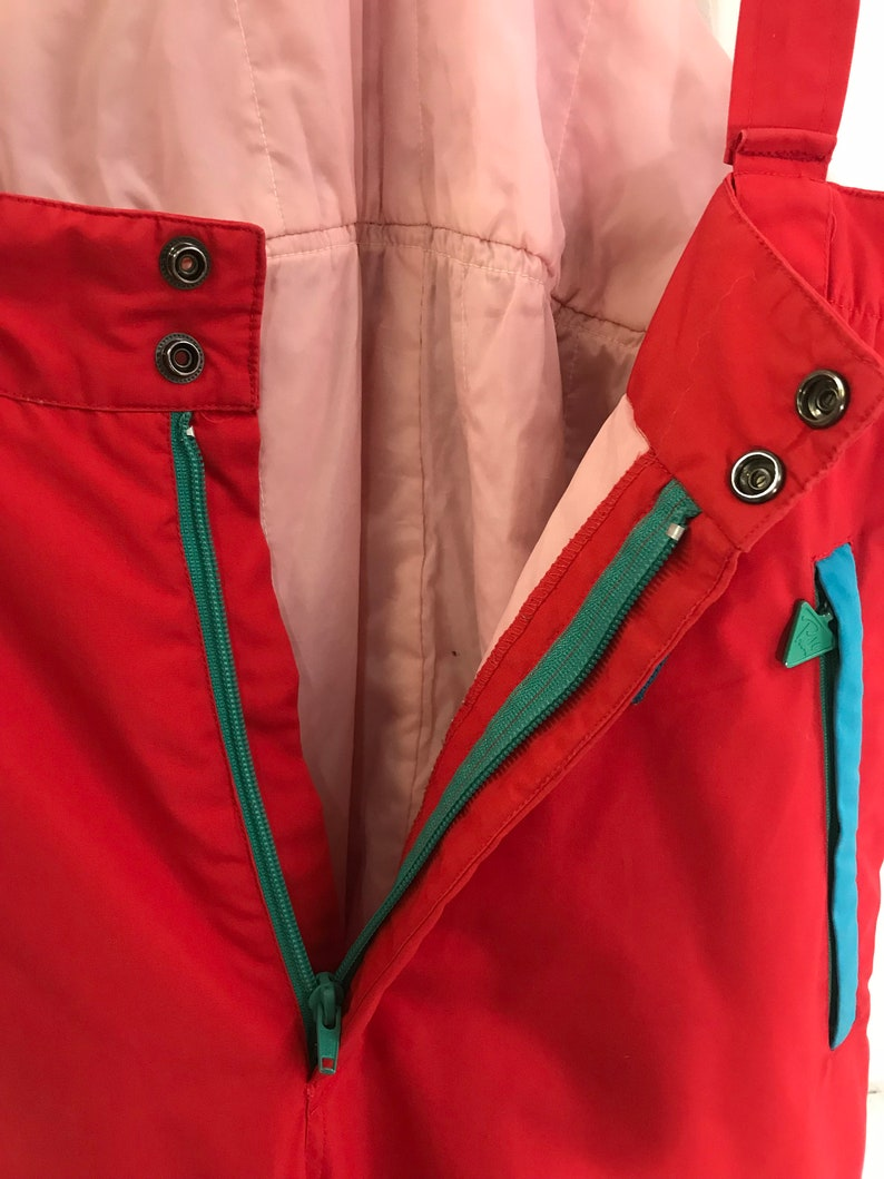 Vintage Ski Overalls Womens M L Red Ski Pants 90s Ski Suit Retro Ski Wear Snow Pants with Straps Red Blue Ski Suit M L Snowboard Overalls