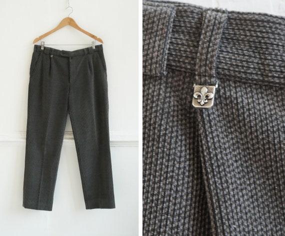 Vintage 90s Corduroy Pants Gray Wool Trousers W36
