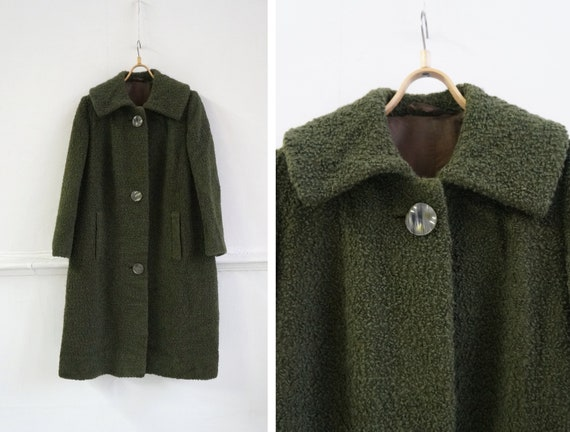 Vintage 90s Wool Coat Green Large Long Oversized C