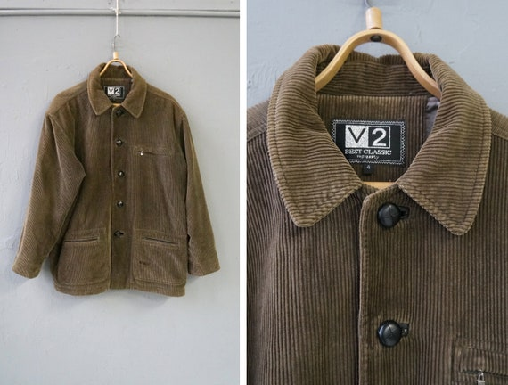 Vintage 90s Brown Corduroy Jacket Mens Corduroy Ja