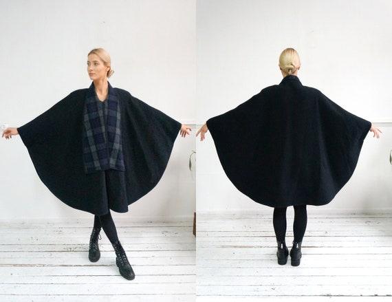 Vintage 90s Poncho Coat Womens Wool Coat Dark Blue
