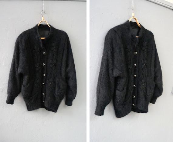 Vintage 90s Angora Cardigan Black Angora Cardigan