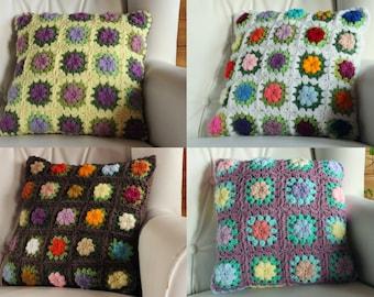 CUSTOM Crochet granny square floral pillow cover.