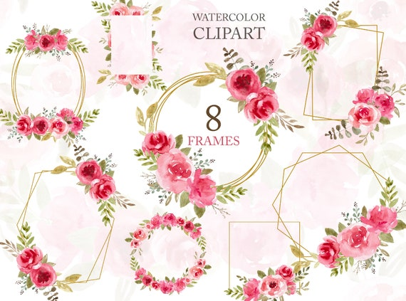 Floral Geometric Golden Frame Clipart Png Wreath Frames Pink Flowers Wedding Invitation Template Scrapbooking Design Diy Art Free Commercial