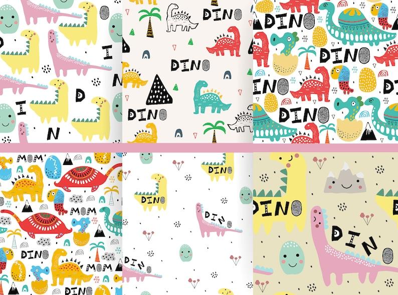 Digital Paper Nursery Background Dinosaur Patterns Seamless Pattern Dino  Baby Decor Animal Backdrop Kid Wallpaper Safari Free Commercial Use