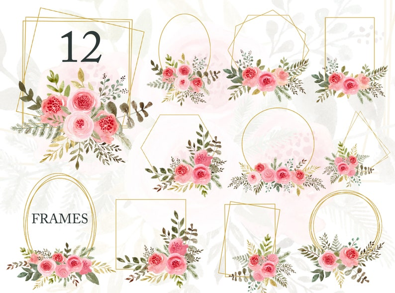 Watercolor Frame Golden Geometric Frames Wedding Invitation Template Floral Clipart Pink Flower Png Bridal Gold Backdrop Free Commercial Use