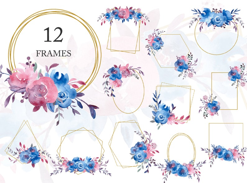 Floral Frame Geometric Watercolor Frames Blue Rose Flower Wreath Golden Wedding Invitation Template Backdrop Png Free Commercial Use