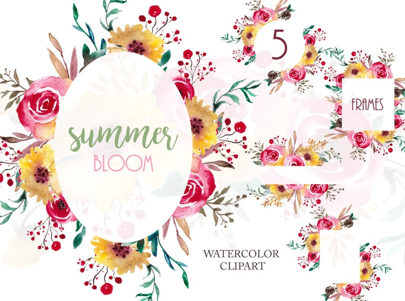 Floral Frames Watercolor Frame Wedding Invitation Template Design Foliage Clip Art Png Free Commercial Use Download File Summer Bloom