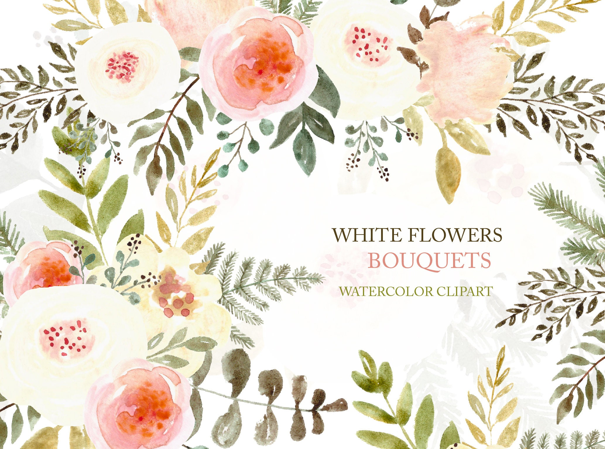 Floral Clipart Watercolor Flowers White Roses Clip Art Etsy