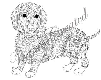 Kleurplaten Mandala Hond.Kleurplaten Hond Etsy