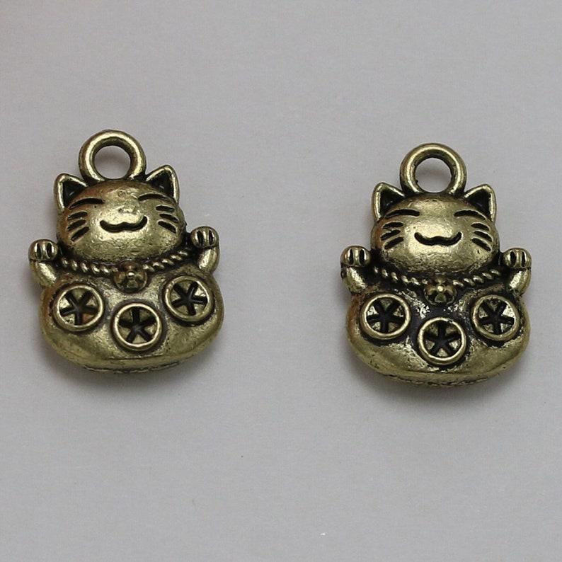 10pcs Lucky Cat Pendant Accessories decoration Antique Silver DIY creative Jewelry Bracelet earring Best Friend gift Necklace