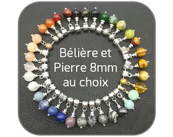Breloque pendant of choice 8mm round natural stone and 925 Silver Belière, Steel or Laiton for women