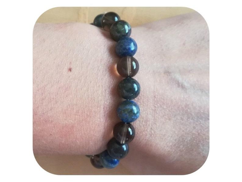 Jaspe Dragon Blood and Smoked Quartz for Men or Women Awakening bracelet and Self-Control Natural Stone Lapis Lazuli