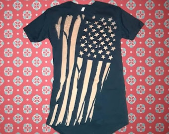 ac2ed51754 HANDMADE BLEACHED Sleepshirt American Flag Long T-shirt Womens Vintage  Distressed Boyfriend Tshirt Sleep Shirt USA Crewneck Nightgown Dress