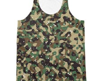 f0167235efc40 Paint Splattered Camo Tank Top   camouflage tank   grunge punk tee shirt    mens womens army fatigue t shirt