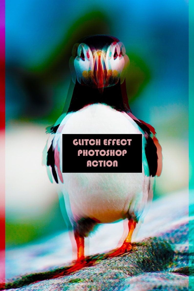 Photoshop 3D Glitch Effect Action Faux 3D Effect Glitch Minimalist Art for  Portraits Animals Objects and Landscapes