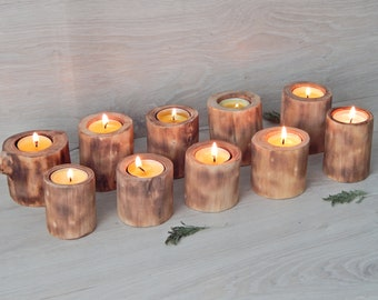 Natural Wood Candles Tree Branch Candle Rustic Birthday Decorations Log Holders Events Christmas Table Decoration Graduation