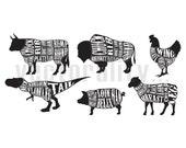 Butchers Meat Cut Illustration Pack Vector Art File Instant Download Ai eps svg pdf dxf png jpg Formats For Design Cut Print