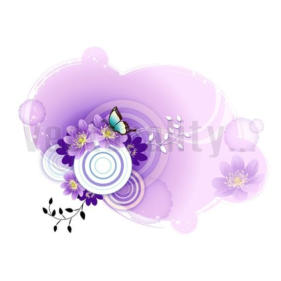 Butterfly Daisy Flower Floral Swirl Purple Pattern Vector Art Etsy