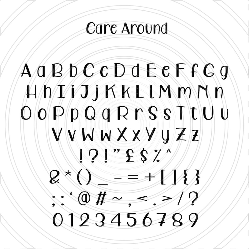 Care Around Kids Fun Childrens Font Alphabet Numbers Letters Vector Art File Instant Download Ai eps svg pdf dxf png jpg Design Cut Print