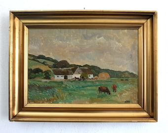 Cows in the pasture, Modern, Impressionist, mid 20th century