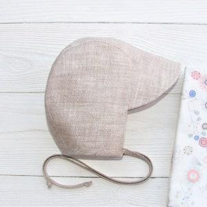 bonnet for girl Reversible FloralWhite CottonLinen baby bonnet with sun brim baby sun bonnet