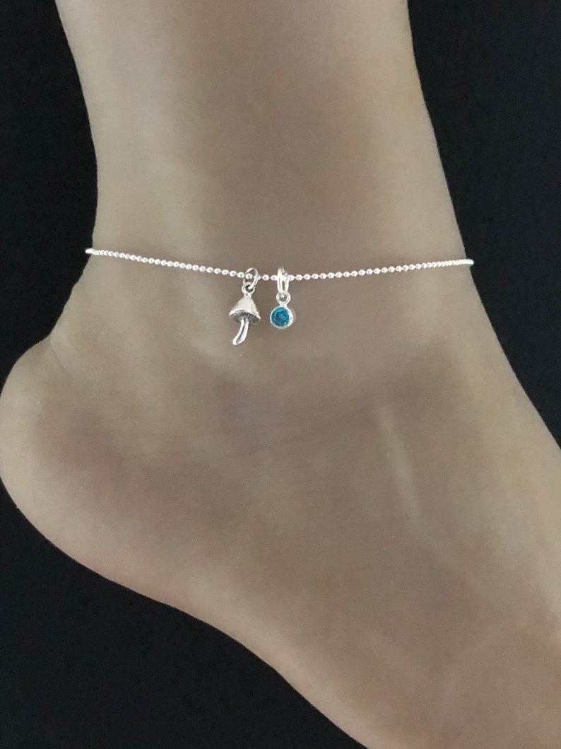 Birthstone Ankle Bracelet Good Luck Charm Jewelry Sterling Silver Beaded Ankle Bracelet Mushroom Anklet Mushroom Charm Anklet