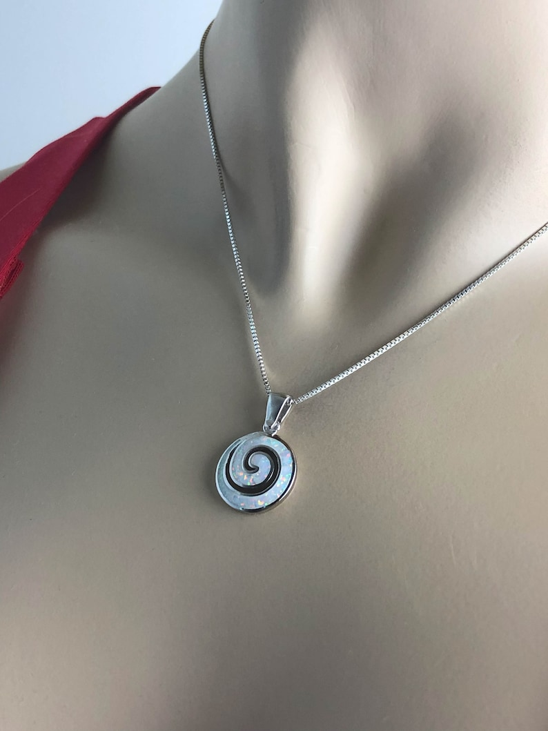 White Fire Opal Necklace Bridal Wedding Necklace October Birthstone Jewelry Sterling Silver Swirl Pendant White Opal Swirl Necklace