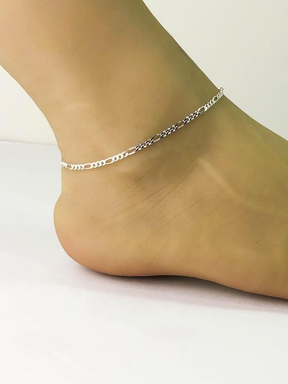 Mens Womens Solid 925 Sterling Silver Figaro Link Bracelet Anklet Chain Necklace